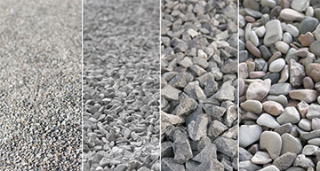 Four columns of different sized aggegate materials | Aggregate Supply